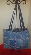 Blue Denim Plaid Patchwork Rag Quilt Diaper Bag Tote Purse