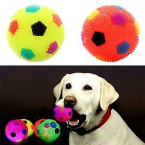 2Pcs Pet LED Light Up Flashing Rubber Ball Dog Play Chasing Bounce Training Toy