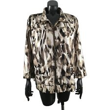 Chicos Zenergy Womens 3 Bomber Jacket Brown Ivory Animal Print