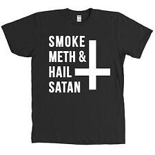 Smoke Meth and Hail Satan Shirt Upside Down Cross Funny Tee - MANY COLORS