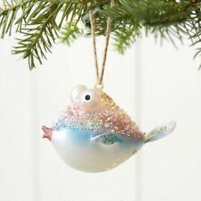 Pottery Barn Bead Embellished Glass Blowfish Fish Ornament Sea Life Coastal NIB