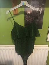 Nasty Gal Green Sparkle Glitter Lurex Bodysuit Bnwt Medium