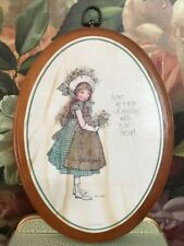 Vintage 1976 Carlton Cards Canada Holly Hobbie Wooden Art Plaque 11x9in Hhp44192