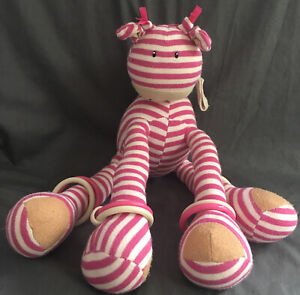 *Jelly Cat / Jelly Kitten* Large Pink Stripy Giraffe Baby Rattle Teether Toy