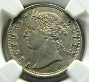 Hong Kong KM7 20 Cents 1889 NGC AU details.  Really looks UNC. !