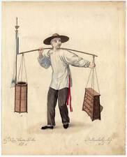 Barbier-Friseur-China-Chinese Kupferstich Dadley 1800 Ethnologie-Beruf