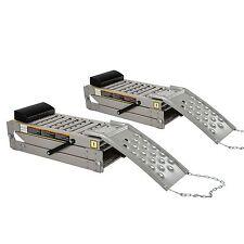 2 X Plegable De Acero Disco De car/vehicle service/inspection rampas Inc cuña de la rueda