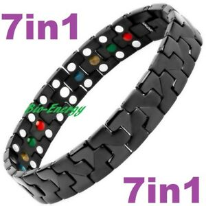 TITANIUM Magnetic Energy Armband Power Bracelet Health Bio 7in1 Bio Black