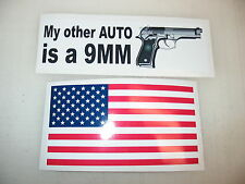 MY OTHER AUTO IS A 9MM Car Window Decal Bumper Sticker + FREE USA Flag PISTOL