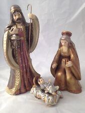 Holiday Time Holy Family Nativity Set Mary Joseph Jesus Manger 4 Pc Metallic