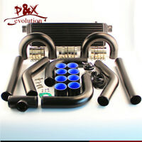 "2.5"" 63mm Universal Intercooler + Alloy Pipe Hose + BOV Turbo Blow Off Valve Kit"