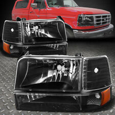 FOR 1992-1996 FORD F150/F250/F350 BLACK BUMPER HEADLIGHTS/+AMBER CORNER LAMP