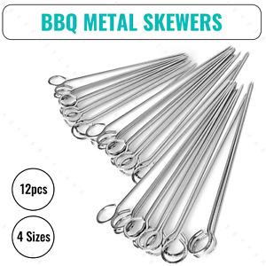 12pcs Metal Skewer BBQ Grill Kebabs Meat Vegetable Cooking Stainless Steel Stick