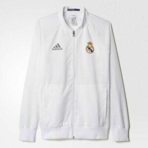 adidas Real Madrid Mens Anthem Jacket Warm Up Training Top White Size XL NEW