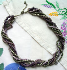 Grey & Purple Bead Necklace Beads Wood Metal Stone Twisted Collar Strand String