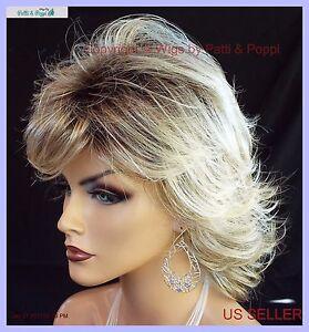 Angela  MID LENGTH LAYERED SHAG Wig *RH1488RT8 ROOTED BLOND LIGHTWEIGHT