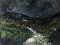 ORIGINAL PAINTING  Acrylic On Canvas 'Rainy Day Snowdonia'40x30cm
