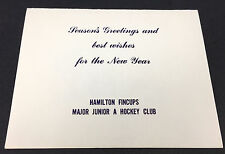 1970's HAMILTON FNCUPS Hockey Club Christmas Card Vtg Major Junior A OHA Ontario
