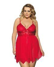 Lau-Fashion Damen Babydoll Spitze Schleifchen Kleid Dessous Rot Reizwäsche L/XL