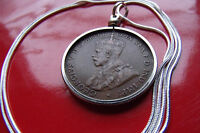 """1911-1936 Australia King George Penny Pendant  on a 24"""" 925 Silver Round Chain"""