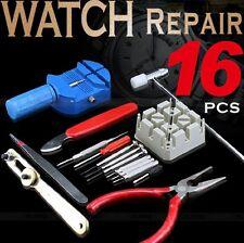 16 Pieces Watch Repair Kit Set Wrist Strap Adjust Pin Tool Kit Back Remover Fix