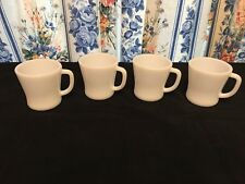 FOUR VINTAGE FIRE KING FEDERAL GLASS COFFEE MUGS