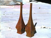 TWO solid cast iron Steeple finials Architectural Rust finish