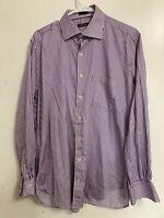 Peter Millar Mens Size L Long Sleeve Striped Button Down Dress Shirt