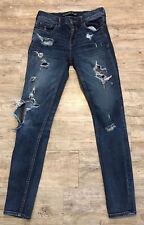 Express Womens Distressed Mid Rise Legging Blue Denim Jeans Size 2