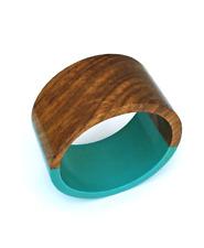 Teal Wooden Half & Half Bangle / Wooden Bracelet / Wooden Jewellery /Wooden gift