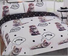 Dreamscene Animal Print Duvet Cover With Pillowcase Bedding Set Walkies Cat