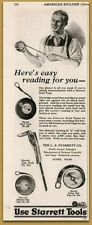 1915 Starrett Tools Pocket Tape Hook Steel Carpentry Print Ad
