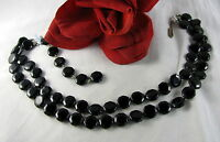 Vintage 2 Strand Black Glass Beaded  Necklace FERAL CAT RESCUE