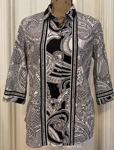 ROBERT GRAHAM Women's Black/White Print 3/4 Sleeve Button Front Shirt- Size L