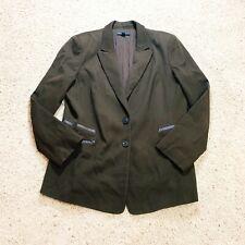 Lafayette 148 Womens Blazer Jacket Brown Leather Trim Size 16 Plus Sized