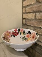 Pottery Barn FLORAL RIM BUNNY Footed Serving Bowl...Easter Spring New