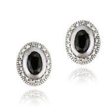 925 Silver 1.2ct Sapphire & Diamond Oval Stud Earrings