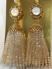 New Indian Bollywood Jewellery Tassle Dangly Earrings Clear White Gold Beads