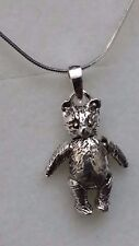 """Girls Ladies 925 Sterling Silver Solid MoveableTeddy Bear Pendant 18"""" Necklace"""