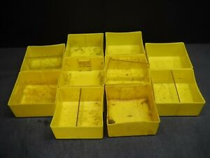 "USED LOT 10 LYON 6"" x 6"" x 3"" Yellow Plastic Box Bin Drawer 663 B"