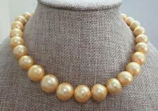 "HUGE 18""12-15mm natural south sea genuine gold nuclear pearl necklace"