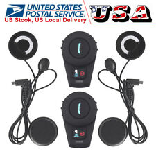 2x Bluetooth Intercom Communication Motorcycle Helmet Interphone Headset Radio