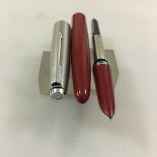 Color Parker 21 Steel Jet Red Fire FP Steel Medium nib  NEW USA not ink not use