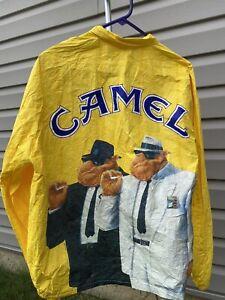 Vintage Camel Cigarettes Yellow Tyvek Light Zipper Jacket XL 90's Joe Camel Coat