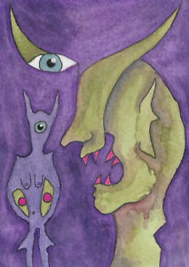 ACEO Original Abstract Weird Aliens # 15  Michael Francis Brown