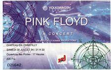 PINK FLOYD TICKET BILLET CONCERT CHATEAU DE CHANTILLY FRANCE 30 JUILLET 1994