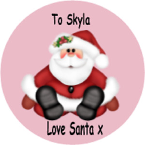 24 Personalised Santa, Christmas, Gift, Present Stickers Party Xmas Set 2