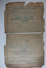 1938 LMS London Midland Scottish Railway Handbill Chinley Edale Hope Hathersage