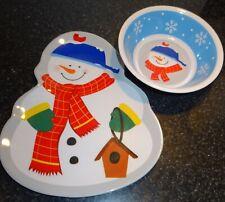Christmas Kids 1 Plate 3 Bowls Dishes Melamine Shatterproof Snowmen Winter SL