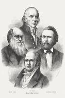 Proponents of Darwinism Charles Darwin 1873 Engraving Art Print Poster 12x18